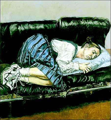 Entitled , 1998 -  A expressão de dor mental, e a posição fetal enquanto dorme é algo bastante presente nesta obra.