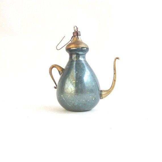 Vintage Mercury Glass Teapot Tree Ornament Blue Gold Vintage Holiday Glass Teapot Vintage Bulbs Mercury Glass