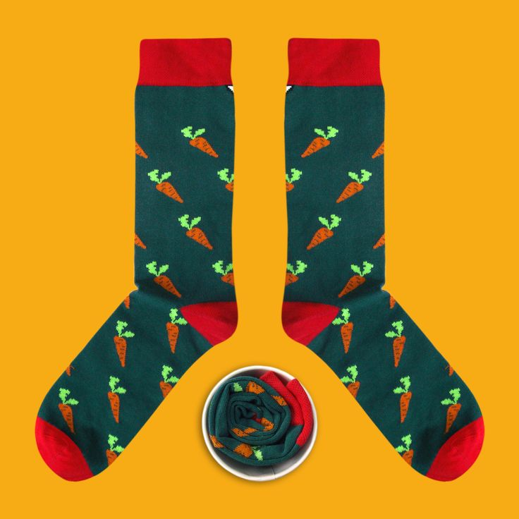 Model: Marchewka słodka z zielenią Włodka Seria: Eatable [|] #skarpetki #skarpetka #socks #sock #womensocks #mensocks #cupofsox #koloroweskarpetki [|]