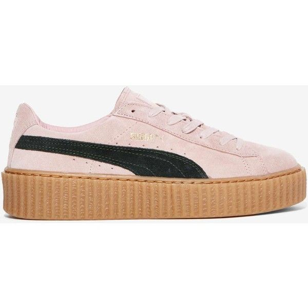 Puma x Rihanna Suede Creeper Sneakers ($150) ❤ liked on Polyvore featuring shoes, sneakers, black lace up shoes, creeper shoes, pink sneakers, platform sneakers and puma shoes