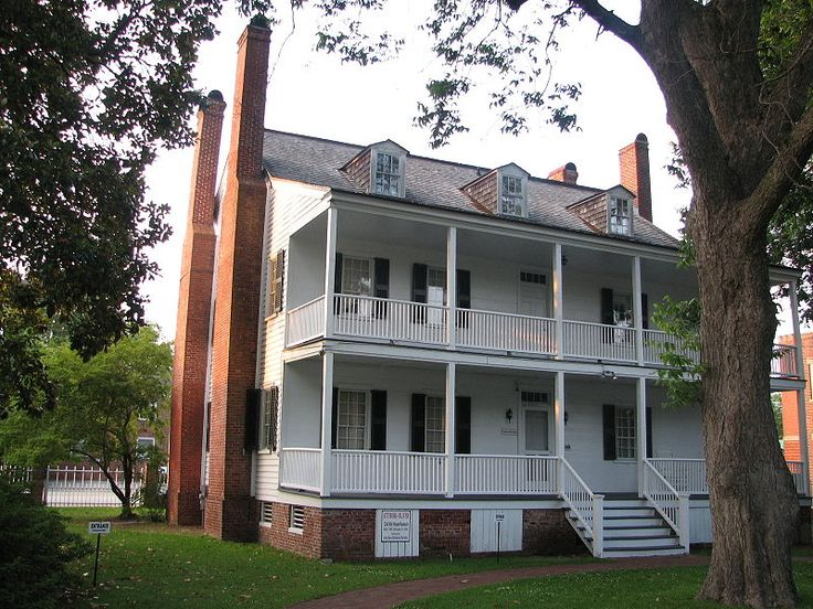 The Attmore-Oliver House  in New Bern, North Carolina was originally built in 1790 and enlarged around 1834. The house is white and features three stories and a large porch in both the front and the back.