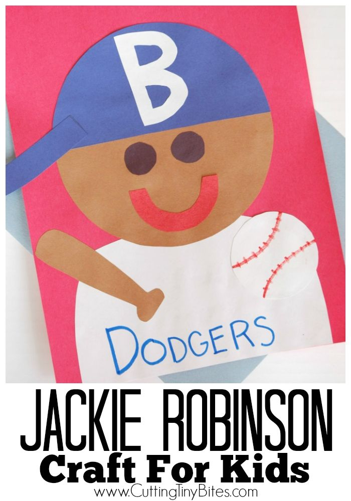 Jackie Robinson Craft- easy craft for preschoolers or elementary kids for Black History Month, sports, or baseball theme.