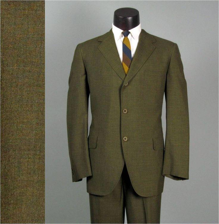 Vintage Mens Suit 1960s HART SCHAFFNER & MARX Dark Olive Lightweight Viracle 2 Two Piece Trad Mens Vintage Suit