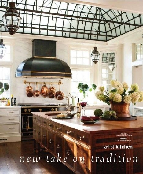 Beautiful kitchen: Kitchens Design, Dreams Kitchens, Idea, Kitchens Islands, Sky Lights, House, Skylight, Copper Pots, White Kitchens
