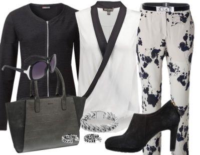 Zwart-wit doet het altijd goed. Ga voor een broek met een subtiele print en combineer deze met een witte blouse en een zwarte blazer voor wat extra pit!