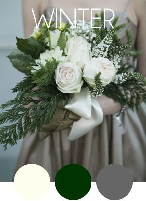 "Simple bouquet with evergreen fillers, some white roses, and we could add gold babies breath instead of the ""white tower-looking"" flowers."