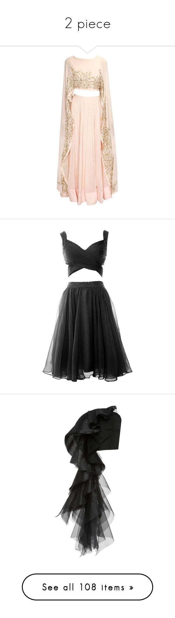 """""""2 piece"""" by casey-avery ❤ liked on Polyvore featuring dresses, two piece homecoming dresses, chiffon prom dresses, two piece dresses, 2 piece formal dresses, homecoming dresses, tops, christian siriano, bustiers and black"""