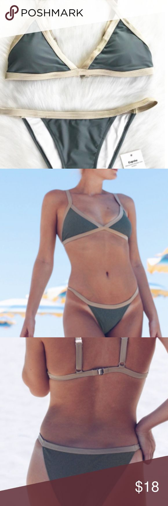 CUPSHE BIKINI (low cut) NEW WITH TAGS If you are looking for a very low but not a lot of cleavage bathing suit, this is it. It is very comfortable and fits well. Size small. Has a greyish green tint and beige. Is cheeky. CUPSHE Swim Bikinis