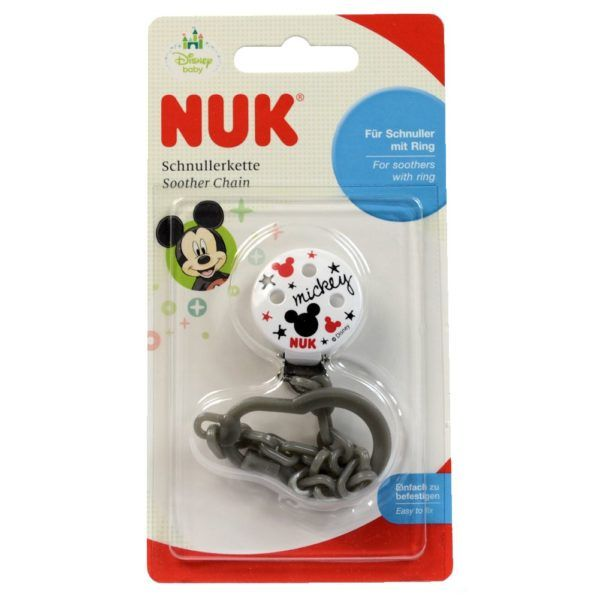 NUK Disney Mickey Minnie Mouse Soother Pacifier Chain 0-36 M Boys Gray 8706-4