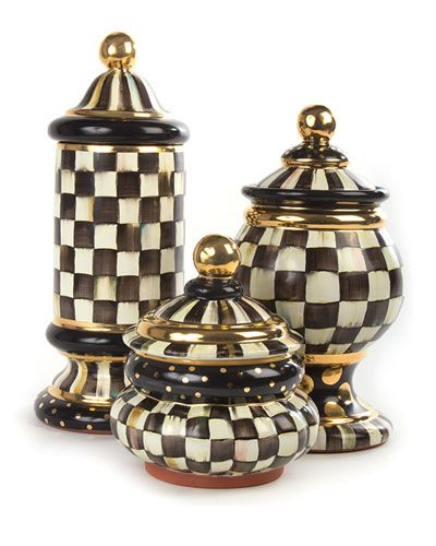 -5YNJ MacKenzie-Childs  Courtly Check Groovy Canister Courtly Check Globe…