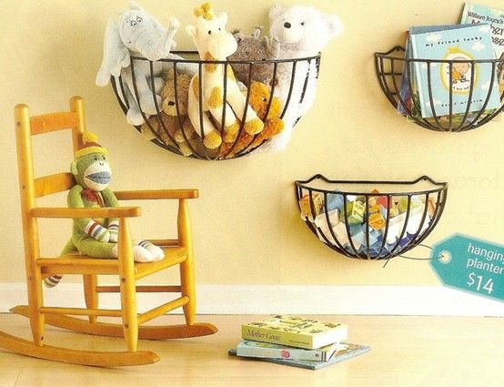 Kid's room organization: use hanging planters as toy storage.
