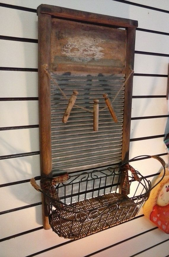 Vintage Washboard and Clothespins With Basket For Wall Storage