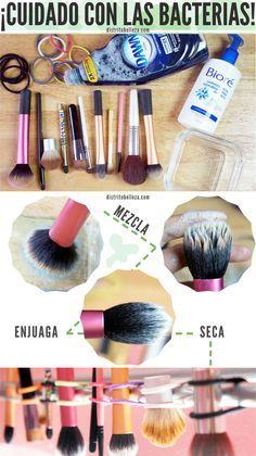 Cuidado con las bacterias que están en tus brochas de maquillaje!!! Aquí te decimos como limpiarlas y secarlas correctamente