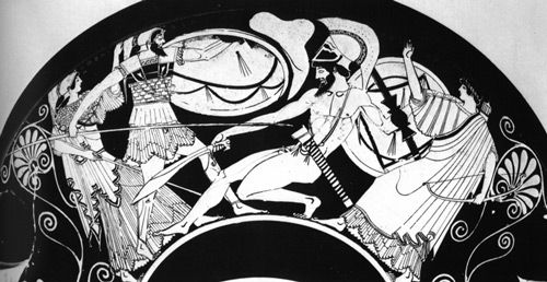 this Attic red-figure cup (c470 BCE), this combat is rather impressionistically shown, with Ajax wounding Hector in the ribs with a spear at the same time that a rock flies through the air between them. Athena supports Ajax, while Apollo supports Hector. (The Iliad)