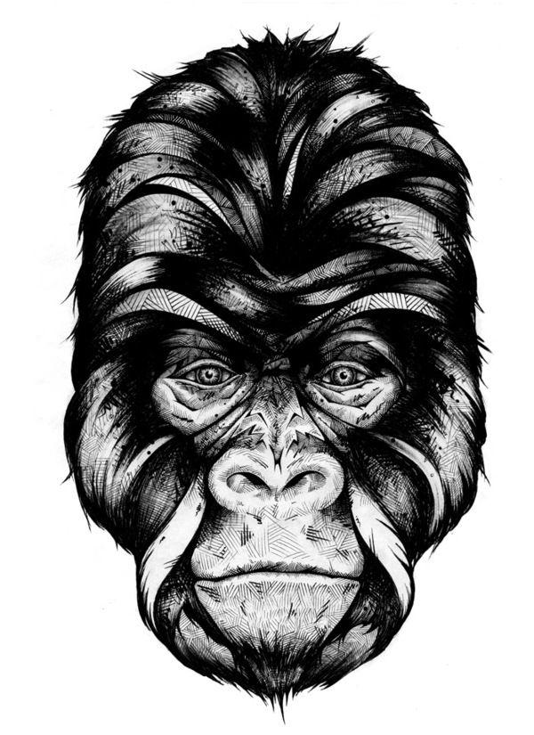 Alive on the Behance NetworkWhite Animal, Graphics Visual, Masks, Fine Art, Visual Art, Animal Illustration, Gorilla Tattoo, Andrea Prei, Andrea Pry