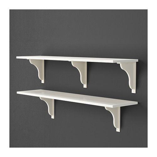 EKBY HEMNES Shelf, white stain white Stains, Shelves and White stain