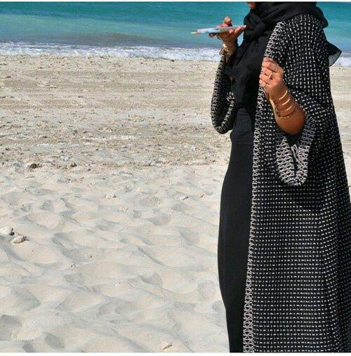 beach, sea, and abaya image