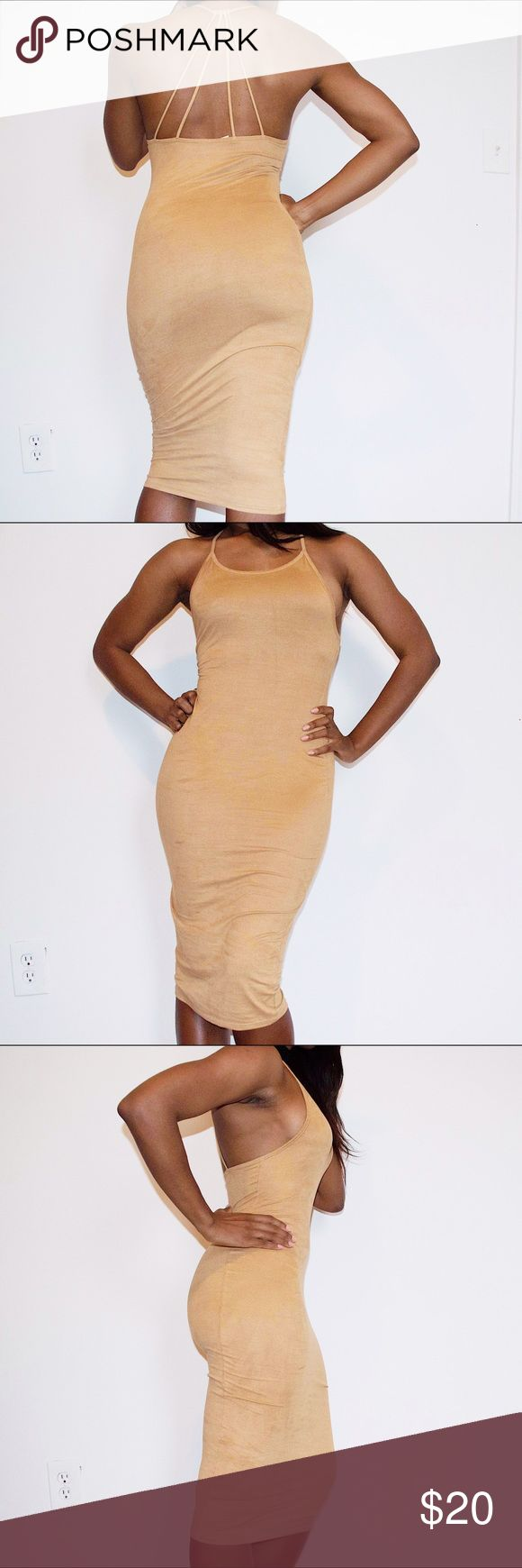 Sexy Camel Colored BodyCon Midi Dress This dress is in great condition. Only worn twice. Primi Dresses Midi