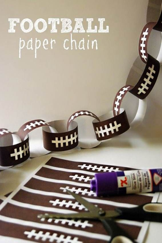 This listing if for Printable Paper Football Chain. Page comes with chains to a sheet. This is a Digital print that can be downloaded instantly. If