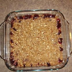 Cherry Crisp Recipe - made this and the brother-in-law liked so much he had it for breakfast the next morning as well as dessert the night before!  @Kalli Amstutz