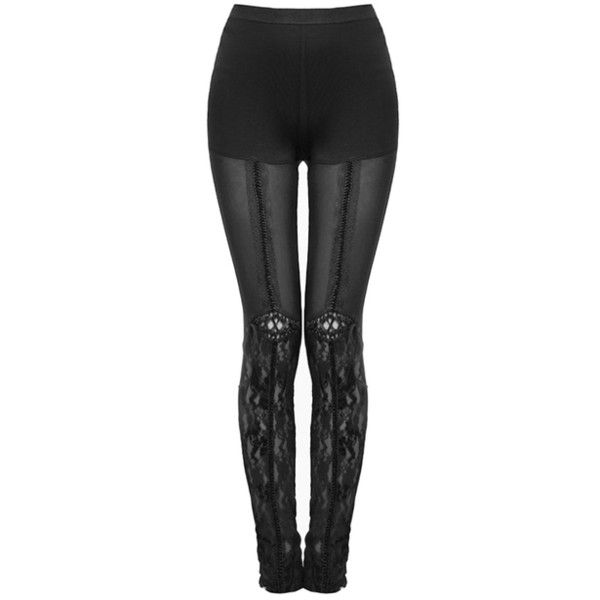 PUNK RAVE NARCISSA LEGGINGS Violent Delights ❤ liked on Polyvore featuring pants, leggings, punk rock pants, steampunk pants, lace leggings, gothic lace leggings and mesh inset leggings