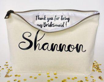 Personalisierte Brautjungfer Make-up Tasche-Leinwand Kosmetik Tasche-Brautjungfer Geschenk-Hochzeit Gefälligkeiten-Braut Geschenk - Reißverschlusstaschen - Hochzeiten