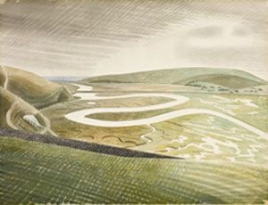 Ravilious trained as an engraver and used this skill in his watercolours of the Downs. He would use lines instead of colour to highlight the shape and sculptural form of the Downs. He preferred to paint the Downs in winter. The Downs landscape is more abstract at this time of year.