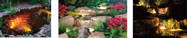 Adding a handmade water garden or small fishpond around your home can give your landscaping an exotic appeal. Even those with limited spaces can craft a beautiful scenic water garden in their lawn. What truly makes a water garden or pond stand out is how it's lit at night. Guests will be intrigued by your illuminated water show during late-night barbecues or dinner parties.