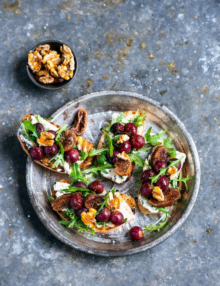 pomegranate roasted grape & blue cheese bruschetta with salted caramelised walnuts