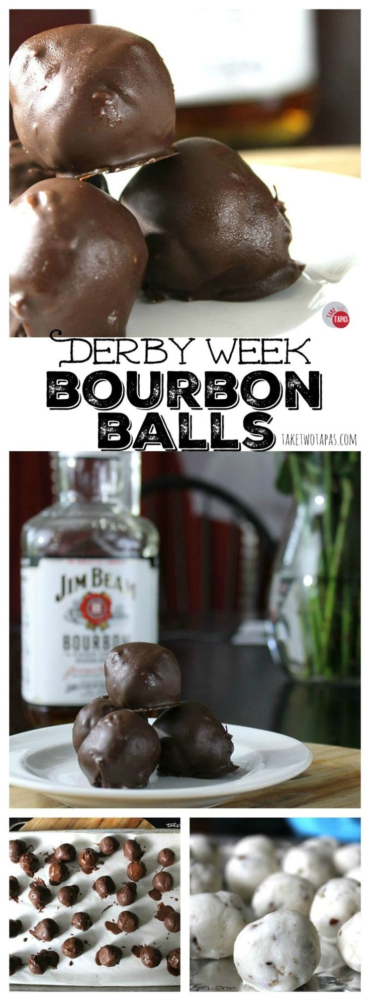 It wouldn't be the Kentucky Derby without bourbon! These chocolate-coated bourbon balls are the perfect snack to pop in your mouth while cheering on your favorite horse and jockey. These make great gifts if you are invited to a Derby party! Grab your hat or bow tie, and these bourbon balls, and down a mint julep! Derby Week Bourbon Balls Recipe | Take Two Tapas