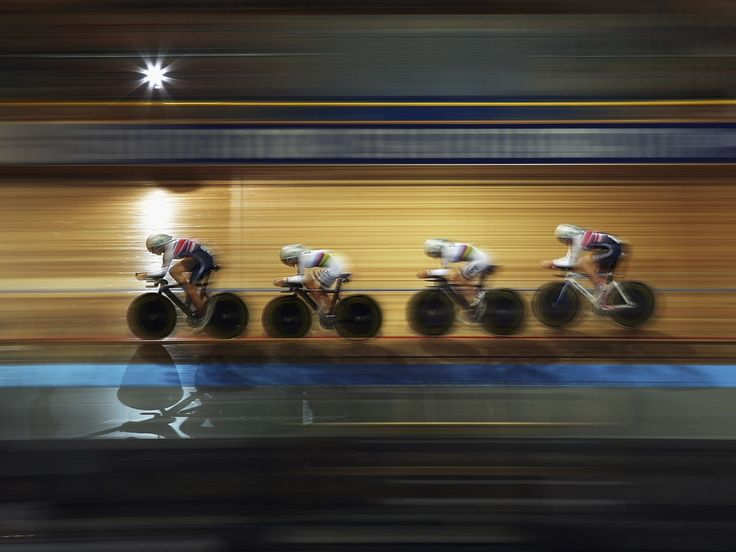 Jo Rowsell of Great Britain leads team-mates Laura Trott, Elinor Barker and Katie Archibald during the Women's Team Pursuit 2013 Euro Elite Track Championship