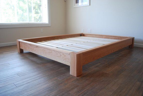 Low Profile Platform Bed In Cherry Simple Bed Frame Solid Etsy Simple Bed Frame Simple Bed Hardwood Bed