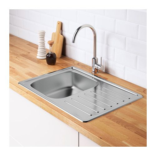FYNDIG Inset sink, 1 bowl with drainboard  - IKEA