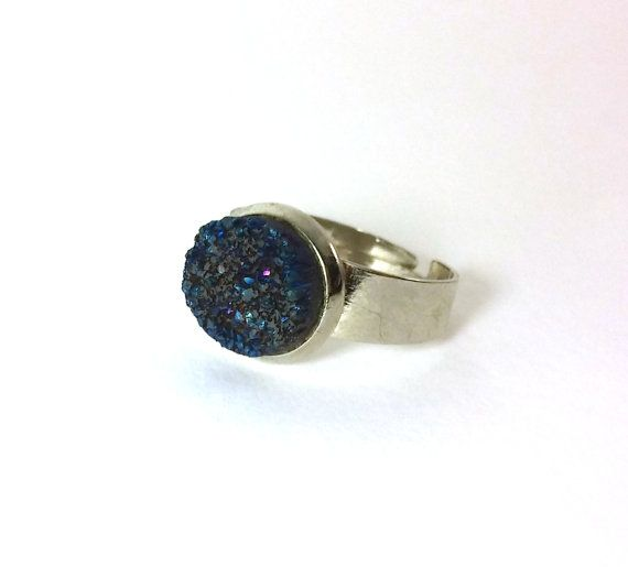 Dark Blue Druzy Agate Ring Adjustable  by RivJewellery on Etsy