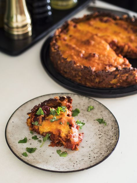 Mexitærte med kylling, chorizo og sød kartoffel