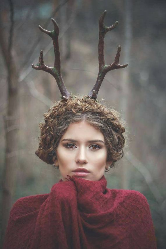Deer antlers headband Satyr horns Horn Headband by CostureroReal
