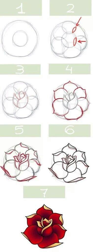 How to draw rose in 5 von été | We Heart It