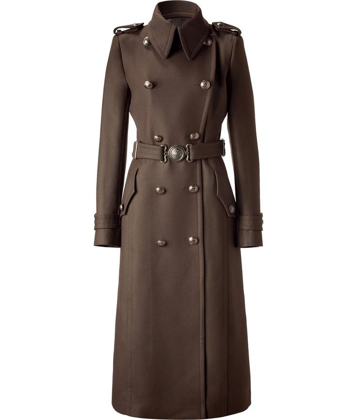 coat: Coats Sweaters Furs, Fashion, Military Style Coat, Brown Double, Coats Jackets, Cavalli Brown, Long Coats, Belt, Style Coats