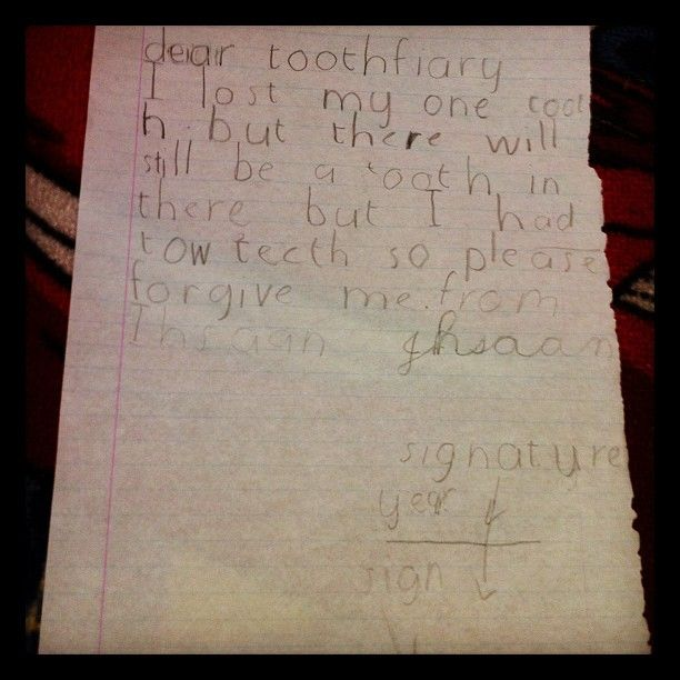 Letter o the tooth fairy