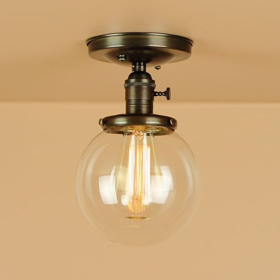 low ceiling lighting ideas. semi flush light w 6 inch clear glass globe oil rubbed bronze edison bulb lighting for low ceilings downrod option ceiling ideas