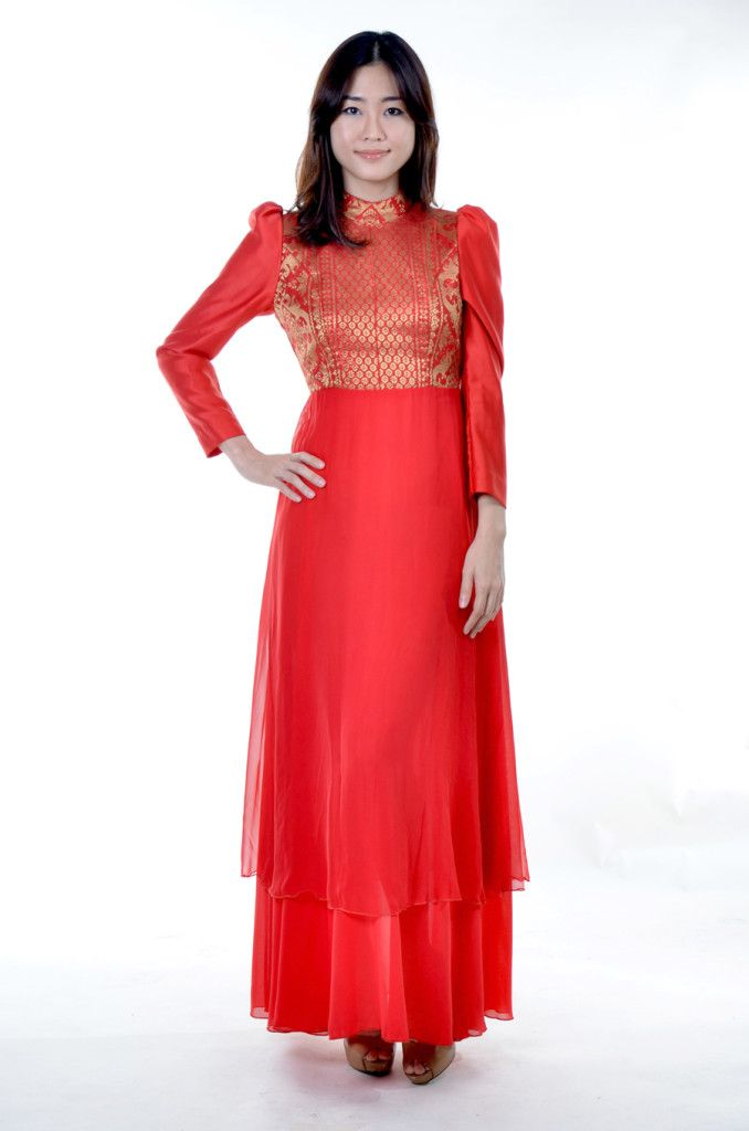 Nabelle Erwani of Malaysia   Red modern Kebaya with Songket