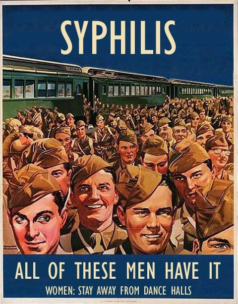 MASCULINE colour schemes used here in this STD awareness poster from WW2. Posted on Pintrest from Buzzfeed website. The navy blue background and masculine brown colours relate to army,macho colourings. The interesting part of this is that the target audience of this poster is females.