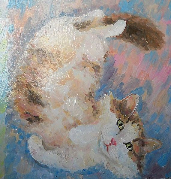 Playful Kitty Portrait Impasto Oil Painting from by FrozenLife