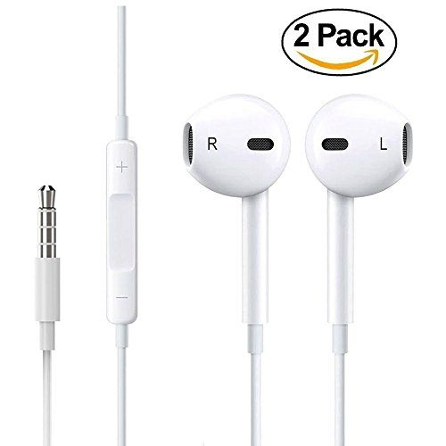 2-PACK Premium Earphones/Earbuds/Headphones with Stereo Mic&Remote Control for ConiPop iPhone iPad iPod Samsung Galaxy and More Android Smartphones Compatible With 3.5 mm Headphone White