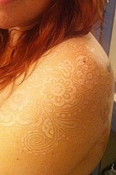 lace - white ink tattooTattoo Ideas, Lace Shoulder Tattoo, White Tattoos, Body Art, A Tattoo, White Ink Tattoos, White Lace, Lace Tattoo White, Whiteink