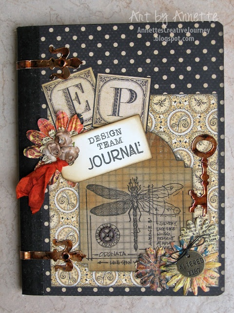 Altered Composition Book with Olde Curiosity Shoppe  (furn redo...if I stick with blacks the tans, browns and antique look is killer, and my man won't quibble with blacks...ohhhh, it is gonna look SO good!)