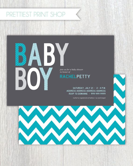 Printable invitation - Baby Boy Shower - Chevron - Customizable
