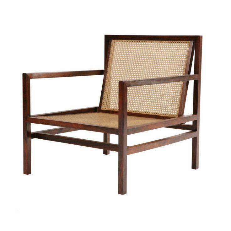 joaquim tenreiro; jacaranda and cane armchair, 1950s.