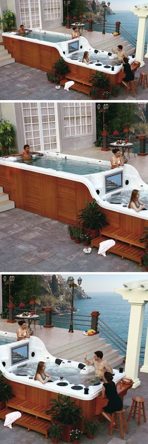 Giant two level hot tub // most epic luxury spa with a built in TV, DVD player, speaker system and bar! Did I say epic?!