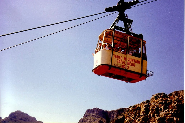 The old cable cars on Table Mountain - hanging over the sides :)